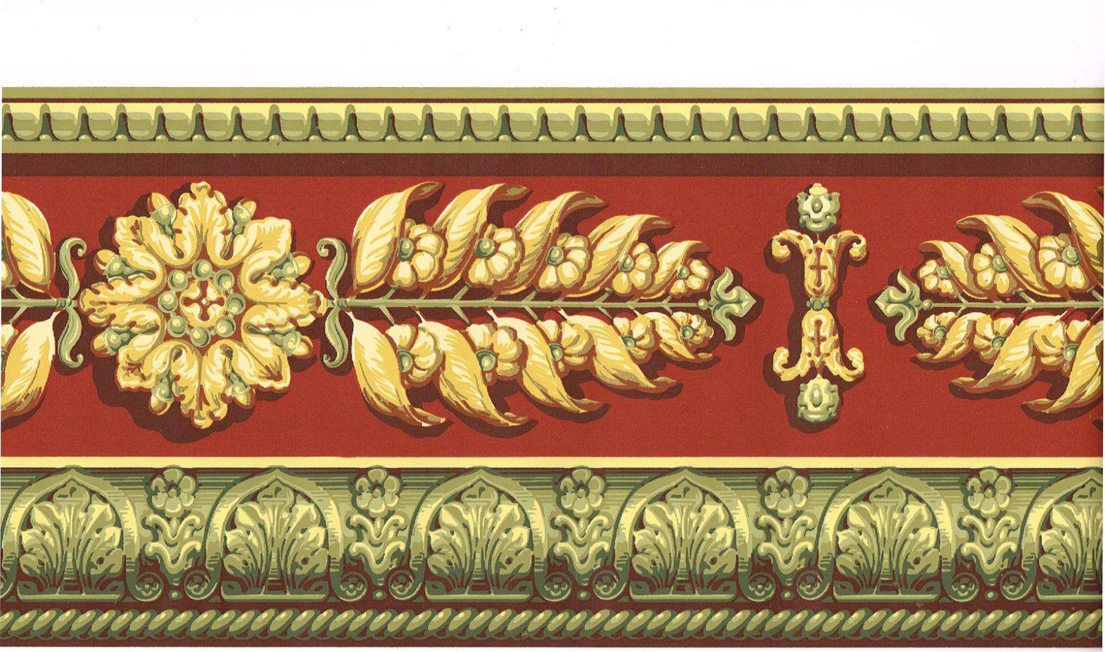 Architectural Red Golden Gold Medallion Leaf Floral Molding Wallpaper Border Ebay Floral Wallpaper Border Wallpaper Border Digital Borders Design
