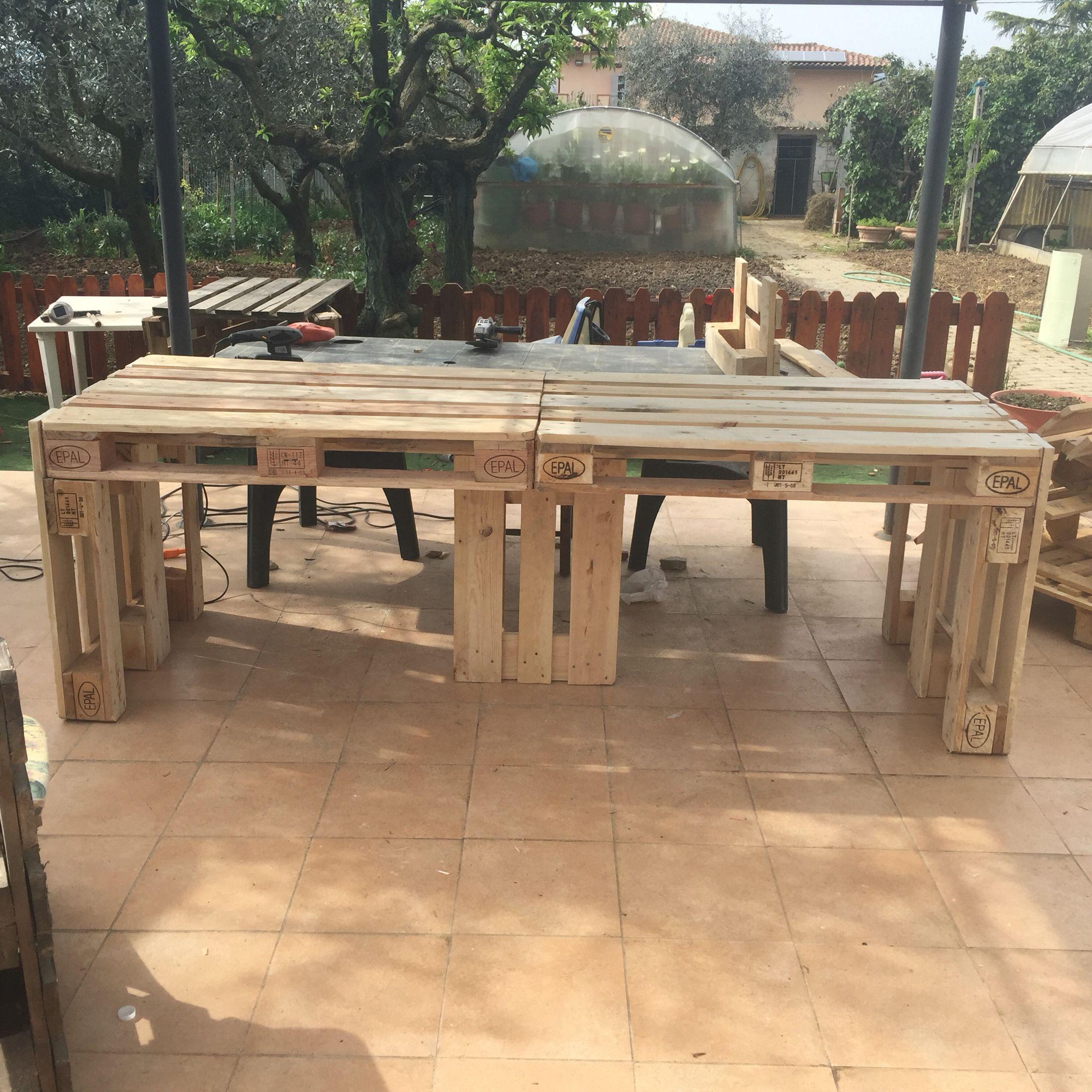 Costruire Un Tavolo Da Giardino.Tavolo 240 Cm X 80 Cm Fatto Con Pallet Tavolo Pallet Fai Da Te