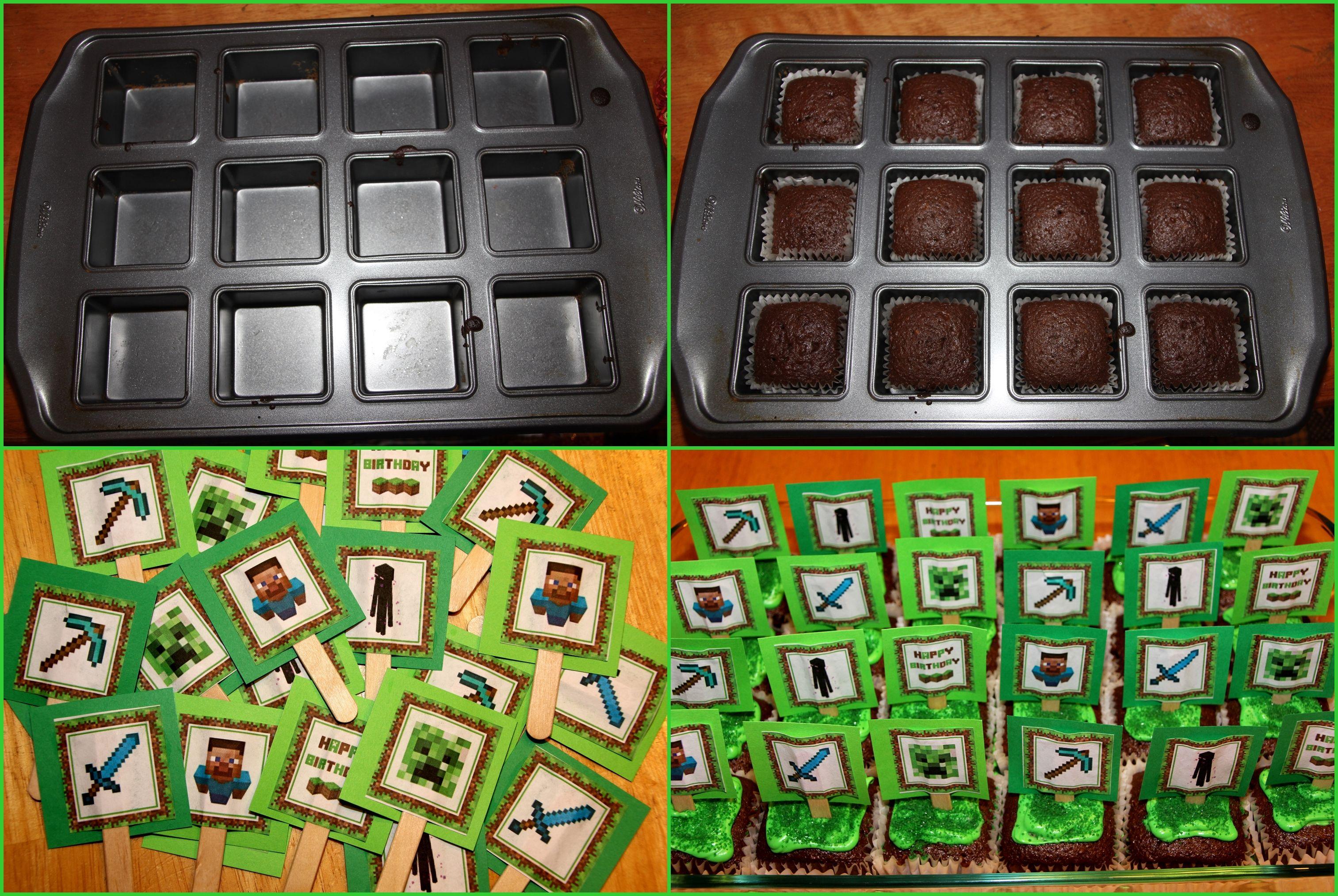 SQUARE CUPCAKES for MINECRAFTI used my Wilton square cake pan
