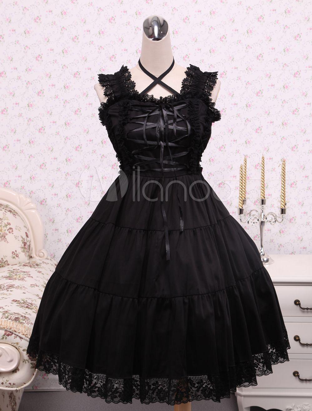Pure black cotton lolita jumper skirt lace trim lace up waist belt