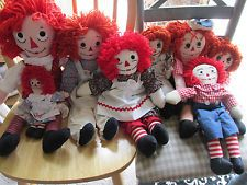 "Lot Of 8 Raggedy Ann & Andy dolls Floral Dress 9"" to 23"" Homemade Dolls"