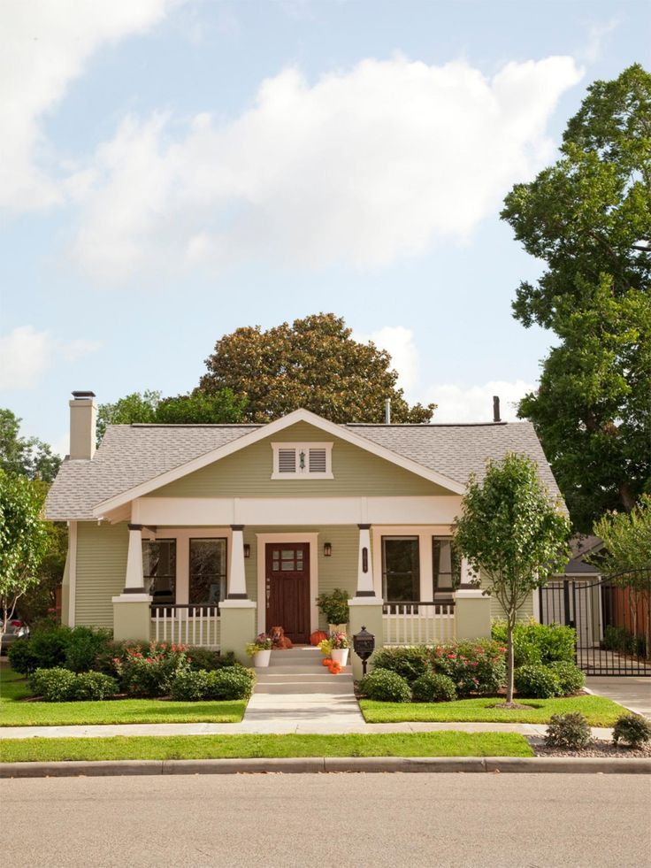 Boost Your Curb Appeal With A Bungalow Look Landscaping Ideas And Hardscape Design Hgtv Craftsman Bungalows Craftsman House Plans Bungalow Exterior