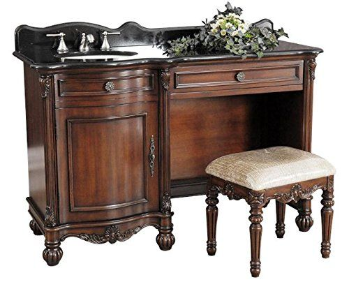 New 55' Single Sink Dressing Vanity Black Stone Pre-Drilled with 3 Holes o
