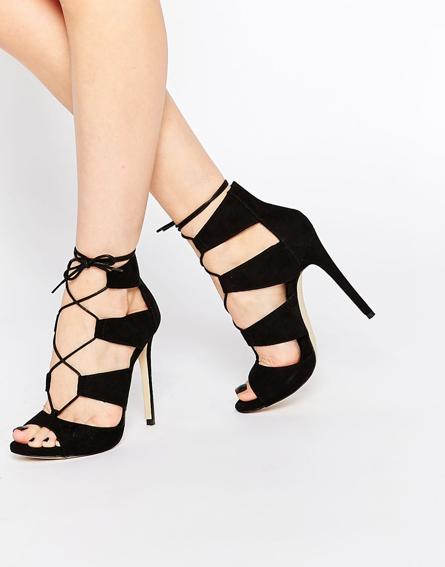 New Look Lace Up Heeled Sandal at asos