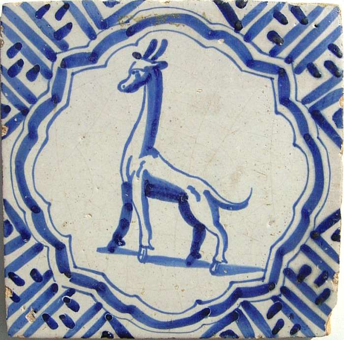 ¤ Delft,19th century white and blue tile with a giraffe