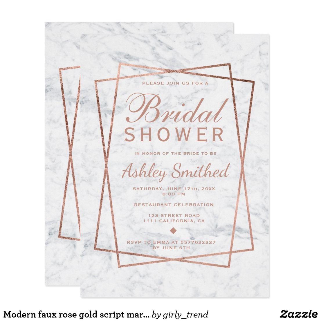 Photo of Moderne Faux Roségold Schrift Marmor Brautdusche Einladung …