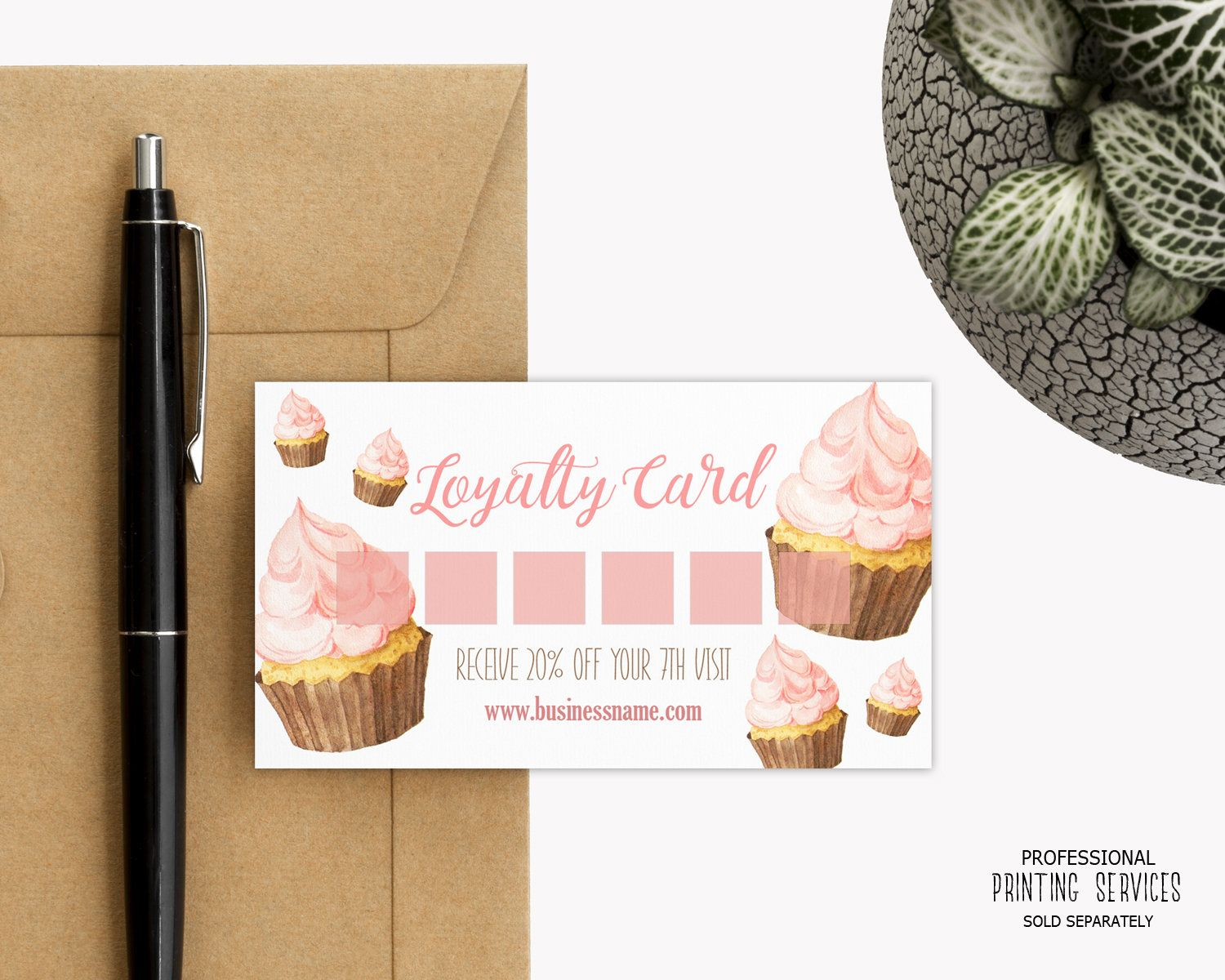Cupcake Bakery Loyalty Card Reward Card Template Etsy Punch Cards Loyalty Card Template Loyalty Card