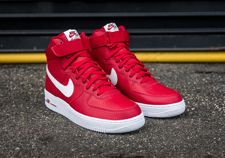 Keep Fresh With The Nike Air Force 1 High Red Perforated Leather