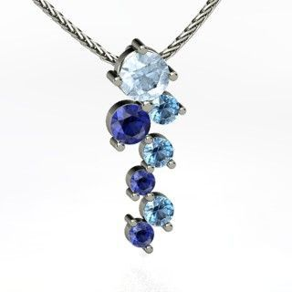 Round Aquamarine 14K White Gold Necklace with Sapphire & Blue Topaz - perspective