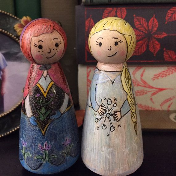 Anna and Elsa inspired Peg Dolls by WillowAdelaide on Etsy
