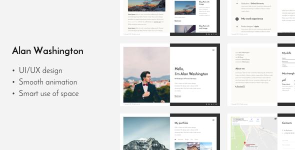Resume Web Template Alan — Responsive Vcard  Cv Resume  Httpsthemekeeperitem