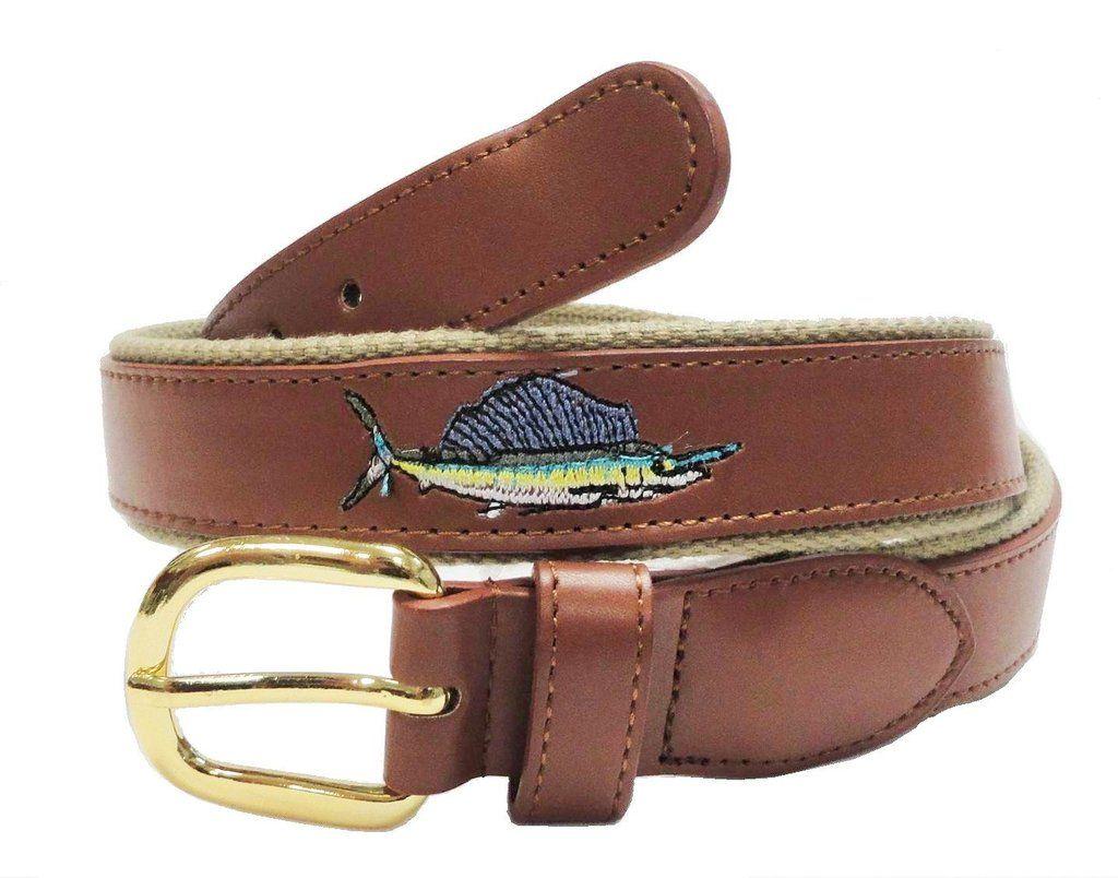Fishing Marine Leather Embossed Sailfish Belt wholeslale 8804