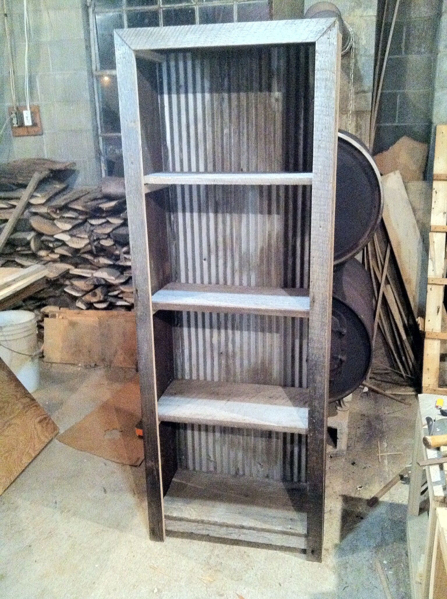 Corrugated Metal And Barn Wood Shelf Plans Wood
