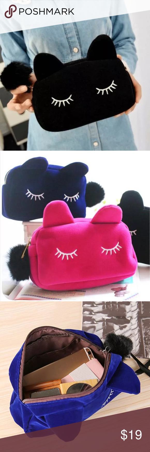BOGO🔴 Plush Fun Cosmetic Cat Eyes Bag. Super cute! If you have the shirt this will definitely compliment it! Such a fun adorable item to add to your closet✨ Bags Cosmetic Bags & Cases