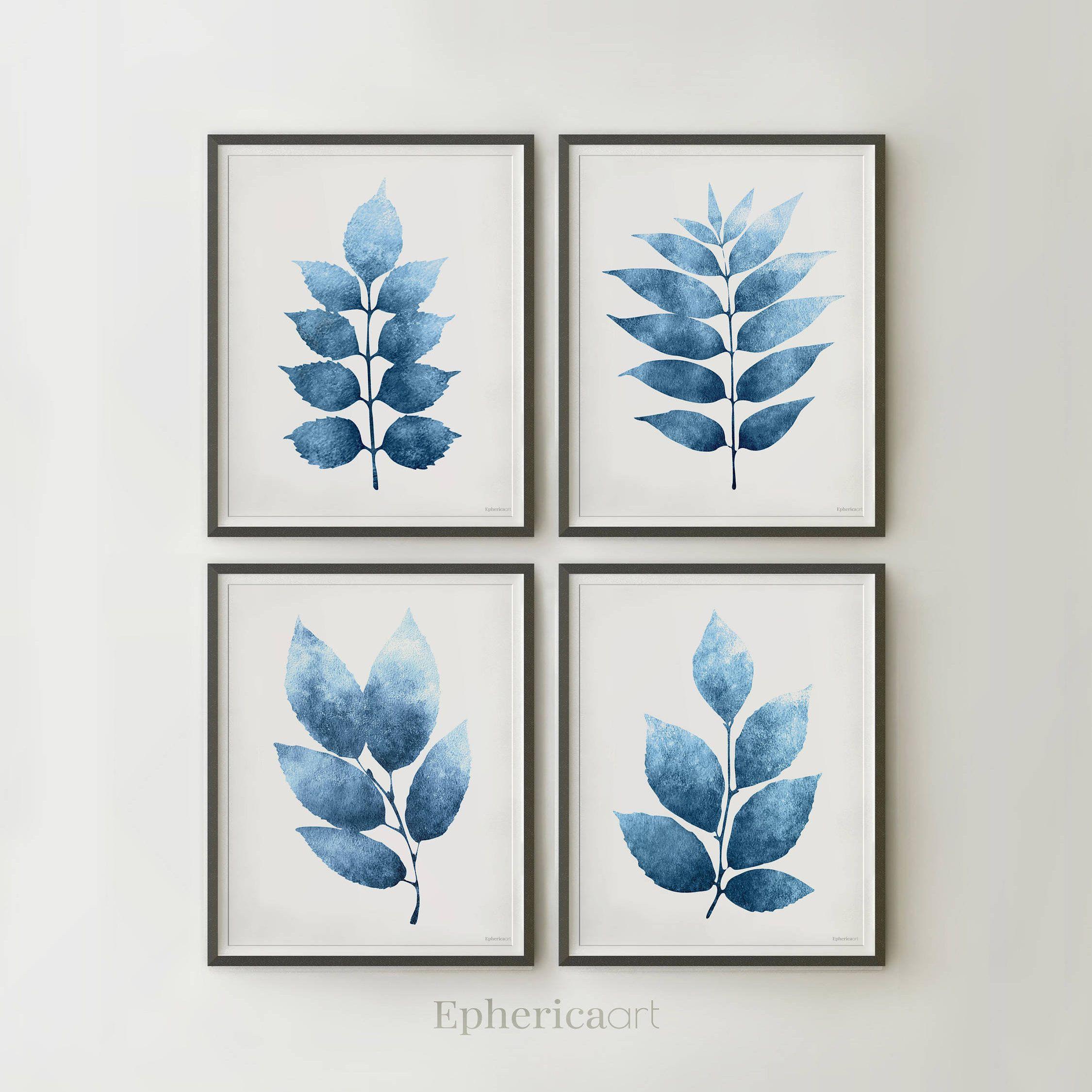 Navy Blue White Wall Art Modern Farm House Prints Set Of 4 Etsy Dark Blue Walls Wall Printables Wall Decor Printables