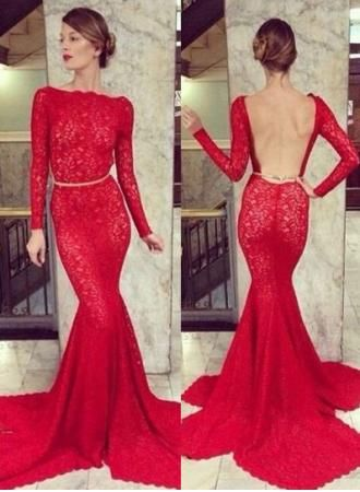 red lace prom dress with sleeves | Gommap Blog