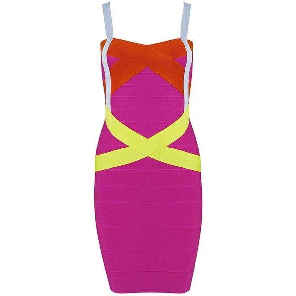 Pink and yellow bandage dress