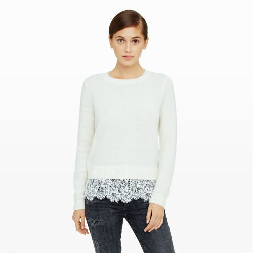 Women | Jessarey Lace Hem Sweater | Club Monaco Canada | chic for ...