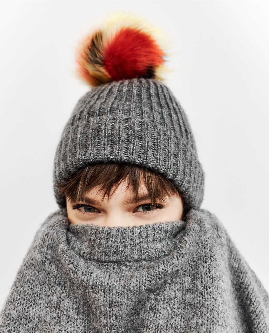 RIB KNIT HAT WITH POM-POM-ACCESSORIES-WOMAN  c6abf2997bf7