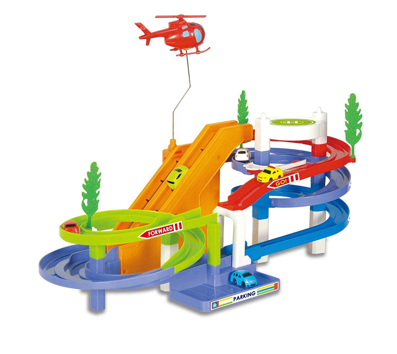 Toy Garage Play Set Race Track Elevator Cars Airplane Fireman Stem Learning