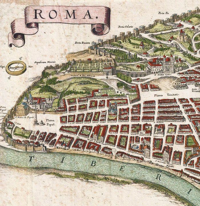 OLD MAP OF ROME ROMA ITALY ANTIQUE VINTAGE ITALY - Vatican city rome map