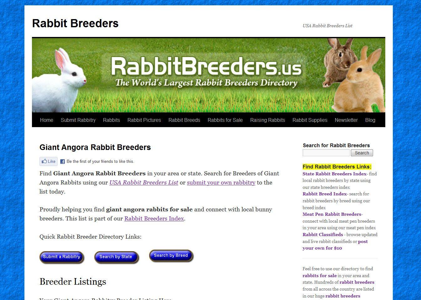 Find Giant Angora Rabbit Breeders in your area. Locate breeders of ...
