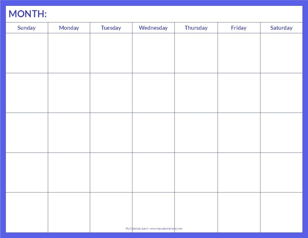 blank calendar page to