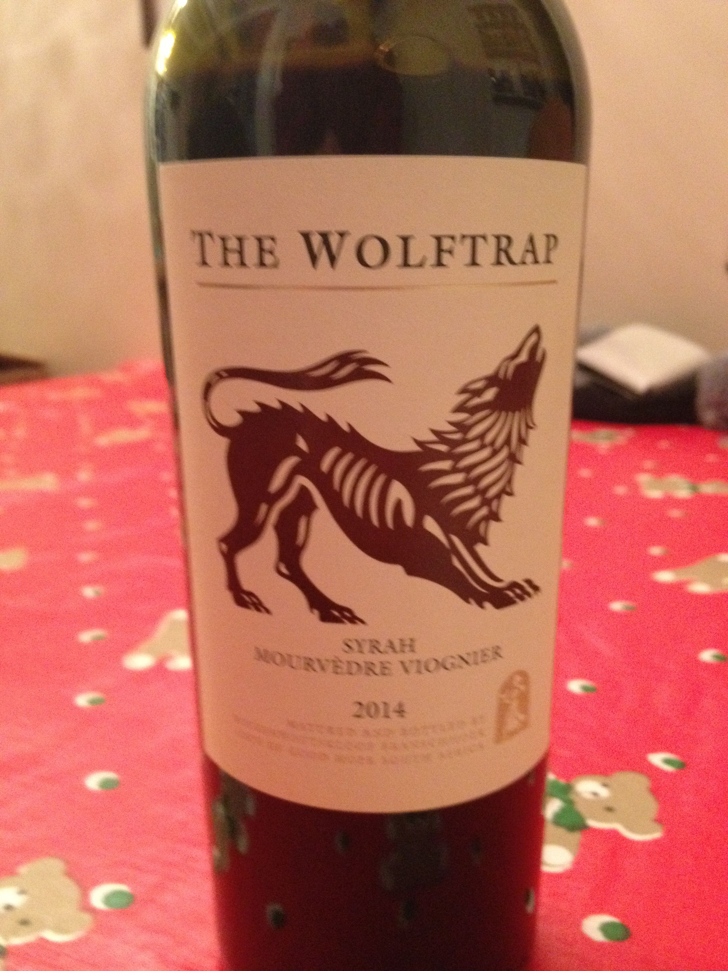 2014 The Wolftrap Syrah Mourvedre Viognier Dark Ruby Red Spicy With Blackberry And Plum Dry On The Palate Fruity Good Tan Wine Bottle Viognier Syrah
