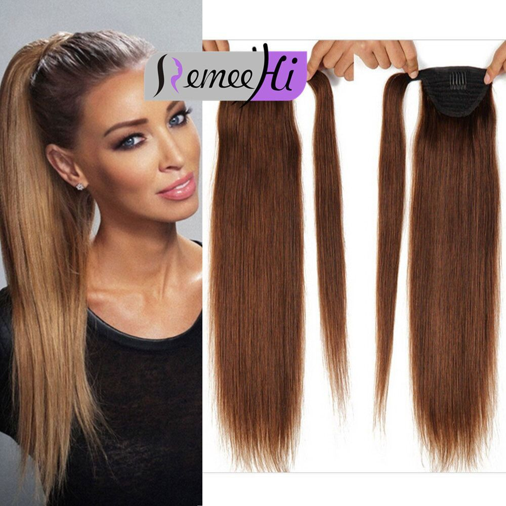 Remeehi Hot Style Ponytail Human Hair Extensions100g Silk Straight