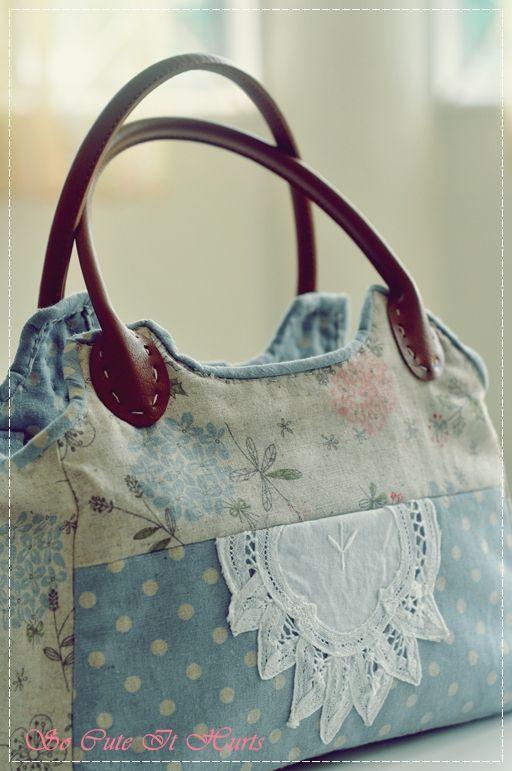 Bolsa De Tecido Pinterest : Bolsa de tecido croch? e artesanato