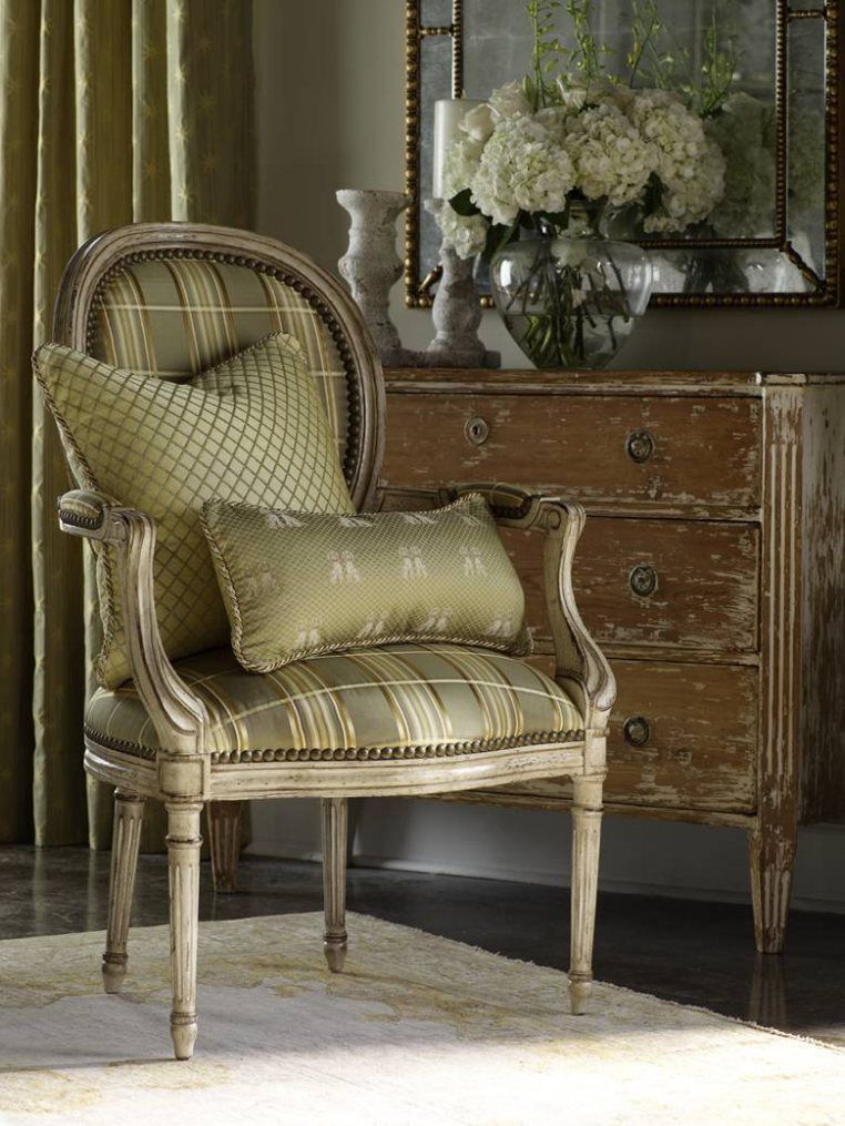 Merveilleux Beautiful Plaid Sage Green Chair, Pillows, Distressed Dresser...love The  Wood