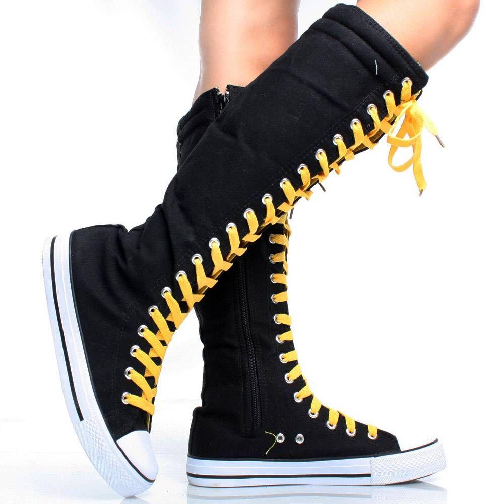 7d492997201 Black-Yellow-Canvas Zipper Punk Tall Women Sneakers Knee High Boots ...
