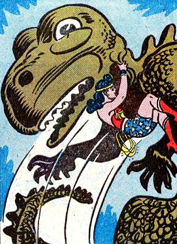 Wonder Woman fights (hugs?) a dinosaur #illustration #popculture #vintage #comics #wonderwoman