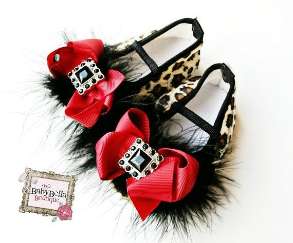 Baby girl  leopard shoes,Booties -Baby Crib Shoes - Leopard with red bow Baby shoes.. on Etsy, $21.99