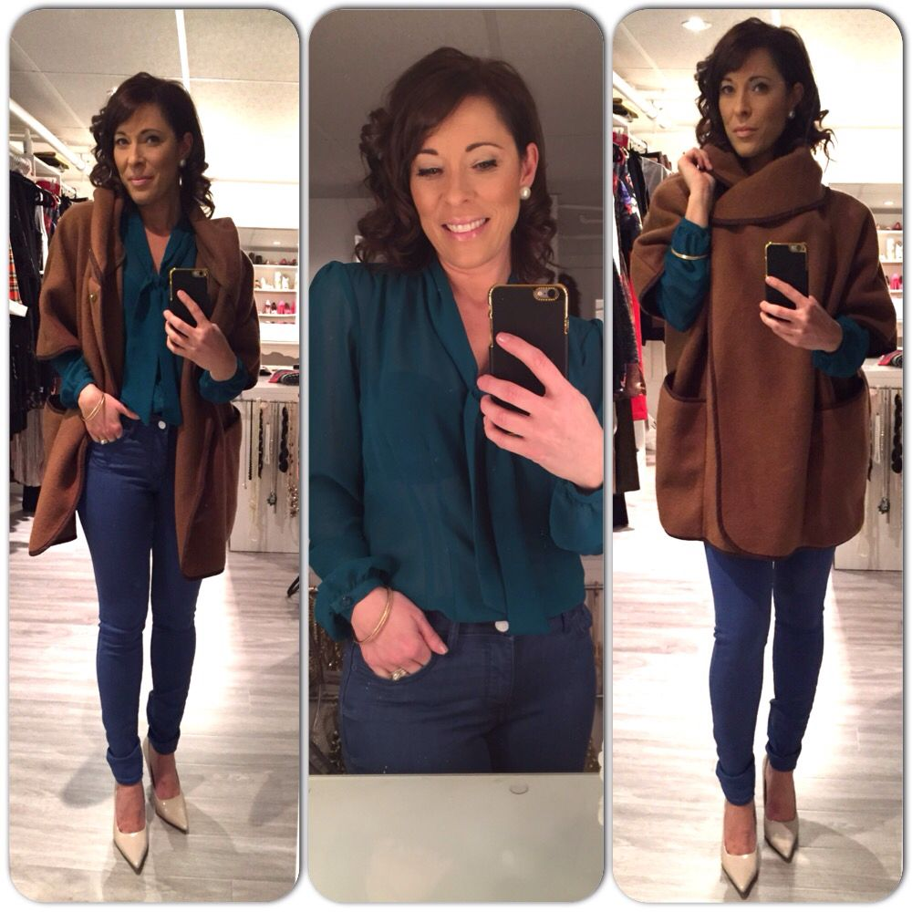 Outfit, ootd, Jacket, jeans, blouse, green, Camel, inspiration www.mbstyliste.ca Facebook @mbstyliste