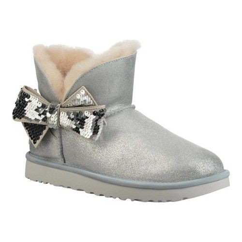634ead2820 Women's UGG Mini Sequin Bow Bootie - Silver Suede Boots in 2019 ...