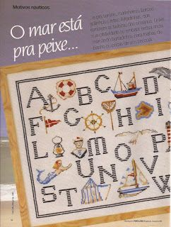 Nautical alphabet - free cross stitch pattern