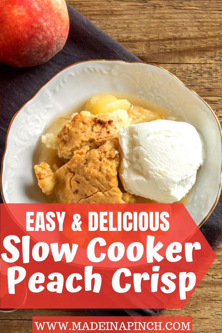 Slow Cooker Peach Crisp Make simple slow cooker peach crisp this summer for a family favorite seasonal dessert recipe!