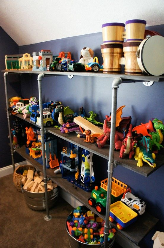 20 Cool Kids Toy Shelf Ideas Kidsomania Maybe More For Boys Room But Love The Idea Toy Shelves Toddler Toy Storage Kids Room Organization