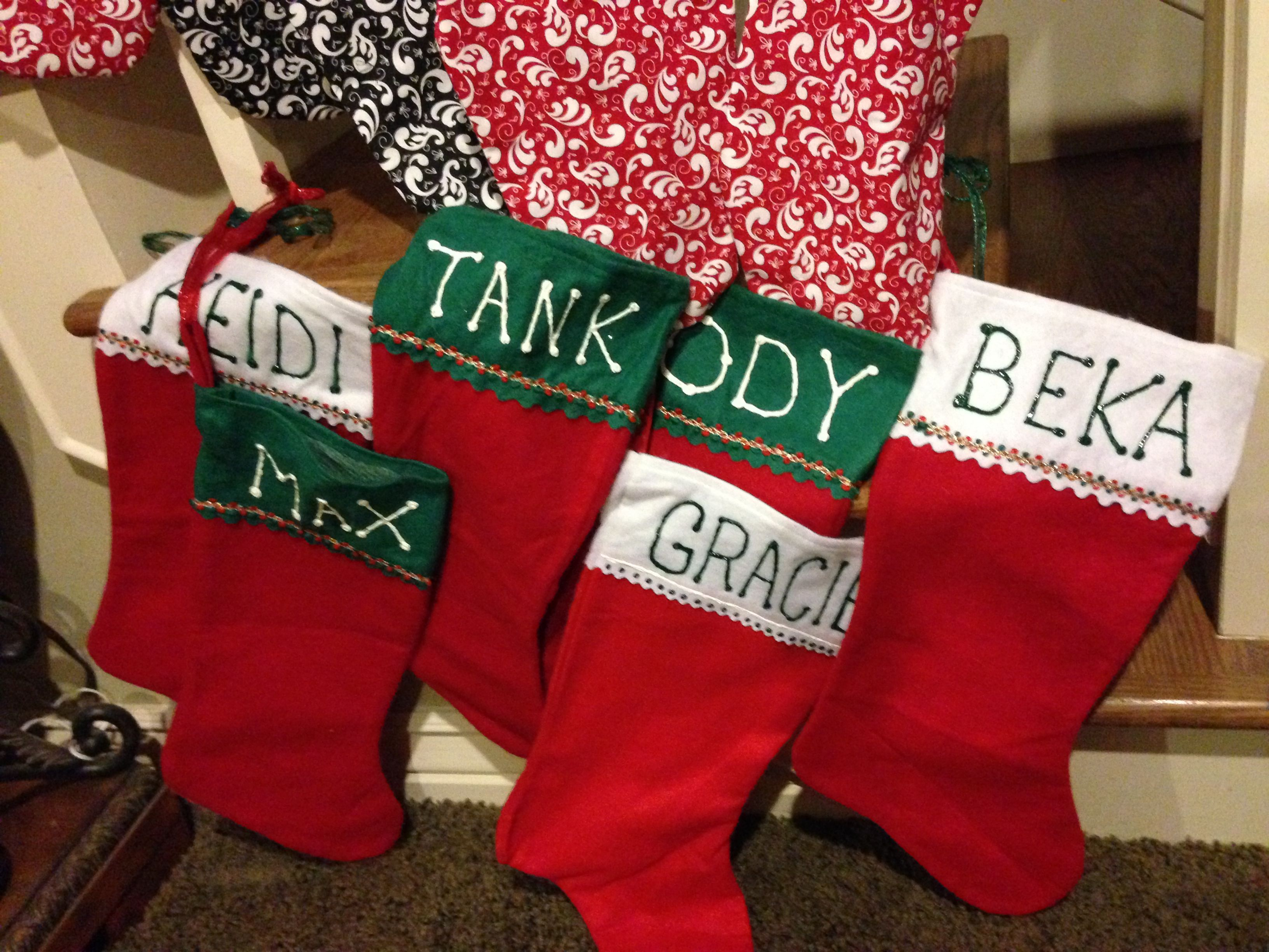 DIY. Simple dog stockings. dollar tree and puffy paint