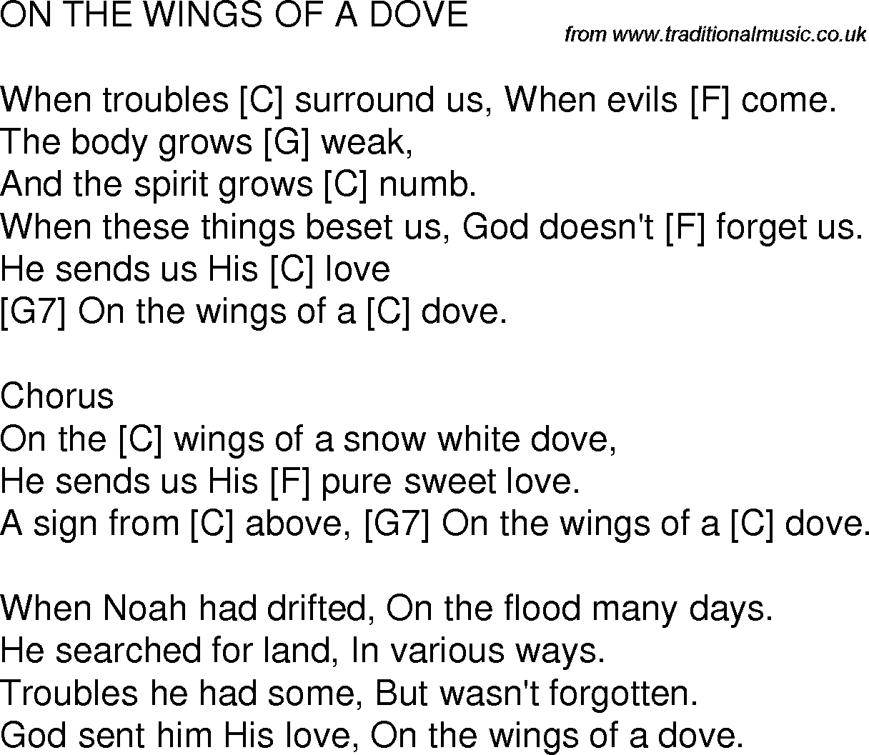 Old time song lyrics with chords for on the wings of a dove c guitar chords hexwebz Choice Image
