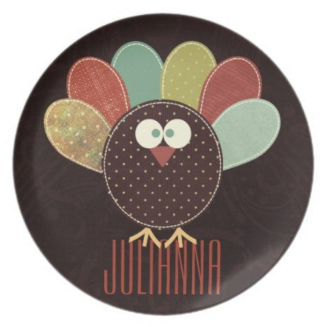 Patchwork Turkey with Custom Name Thanksgiving Melamine Plate in