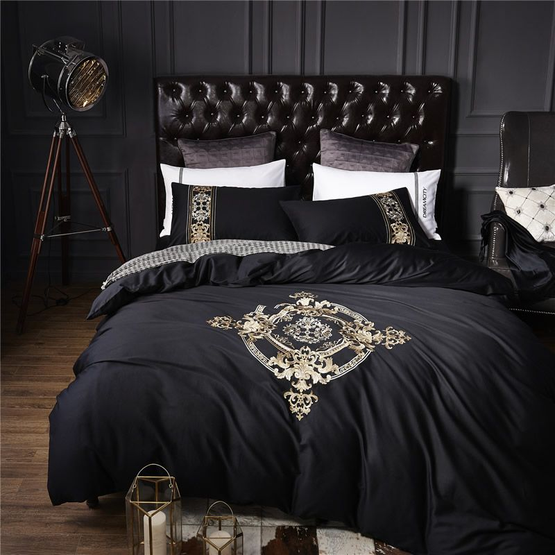 Luxury Euroope Bedding Set Embroidery Black Bed King Queen Linens Duvet Cover Sheet High Quality China Suppliers