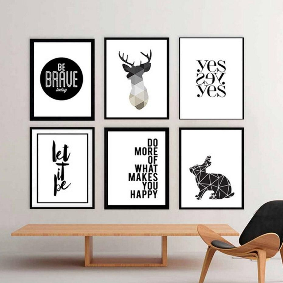 Minimalist Nordic Wall Art Typographic Geometric Black And White Posters Simple Scandinavian Canvas Prints For Modern Living Room Home Decor Siluet