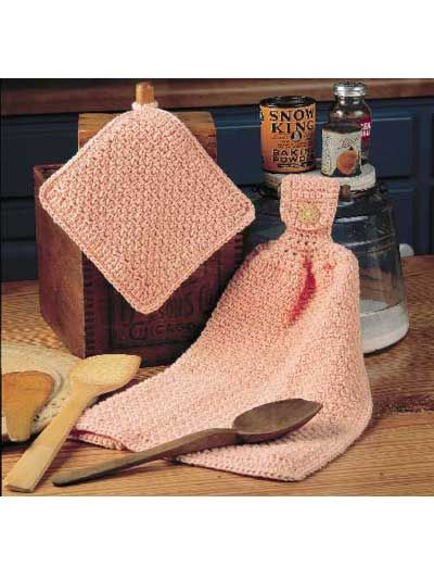 Crochet - For the Home - Kitchen Decor - Peachy Kitchen Twosome - #FC00372