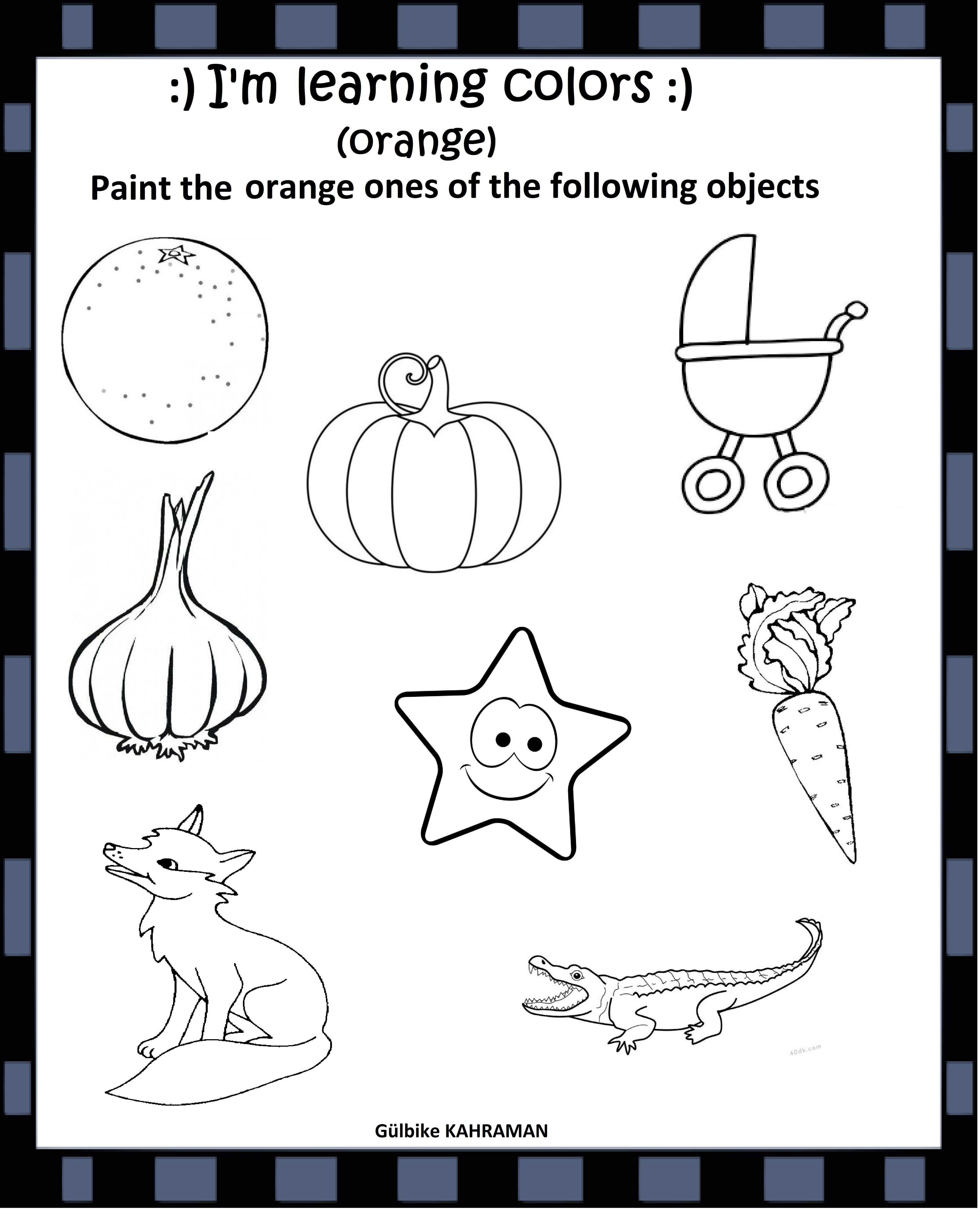 Kindergarten Worksheets Color Orange