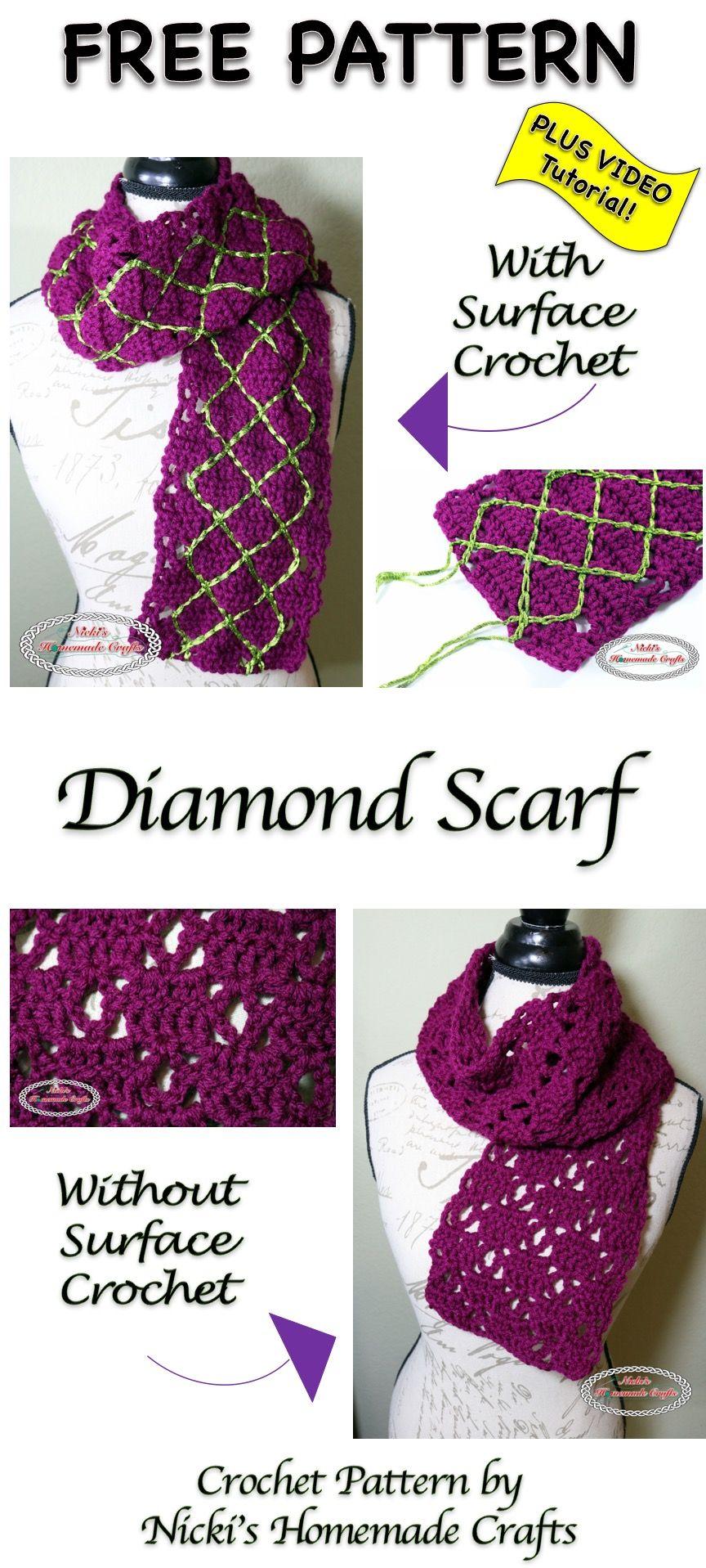 Diamond Scarf - Free Crochet Pattern | Pinterest | Bufandas de ...