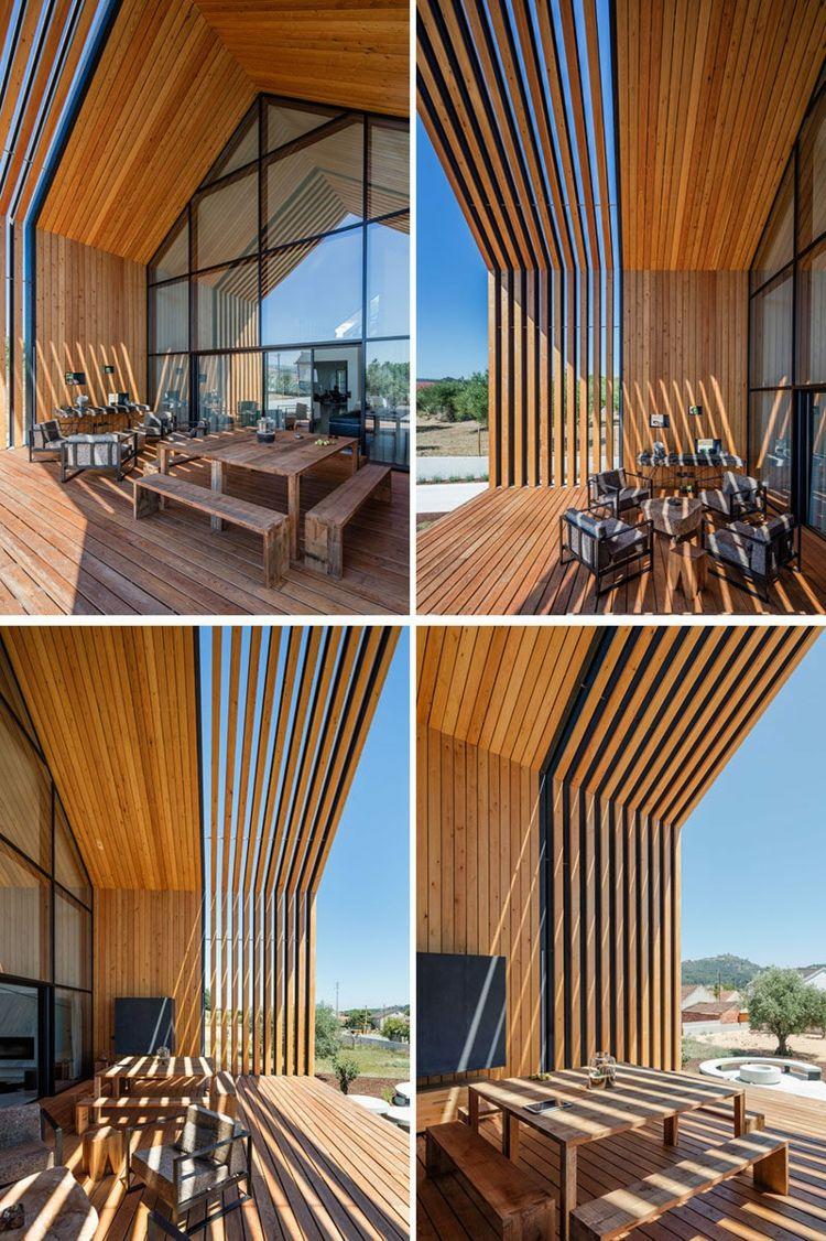 veranda aus holz überdacht holzlamellen sitzecke | VISION your HOME ...