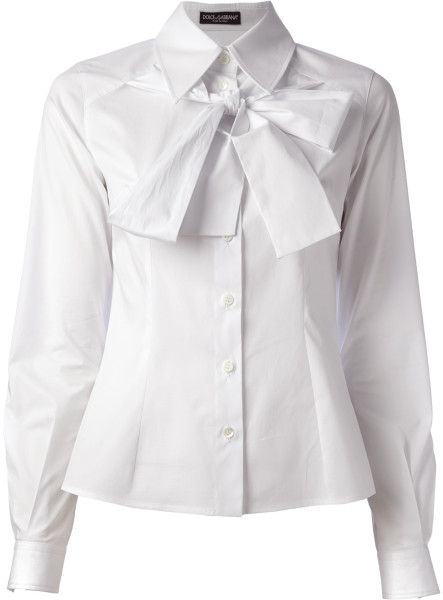 Dolce & Gabbana - White Pussy Bow Shirt - Lyst
