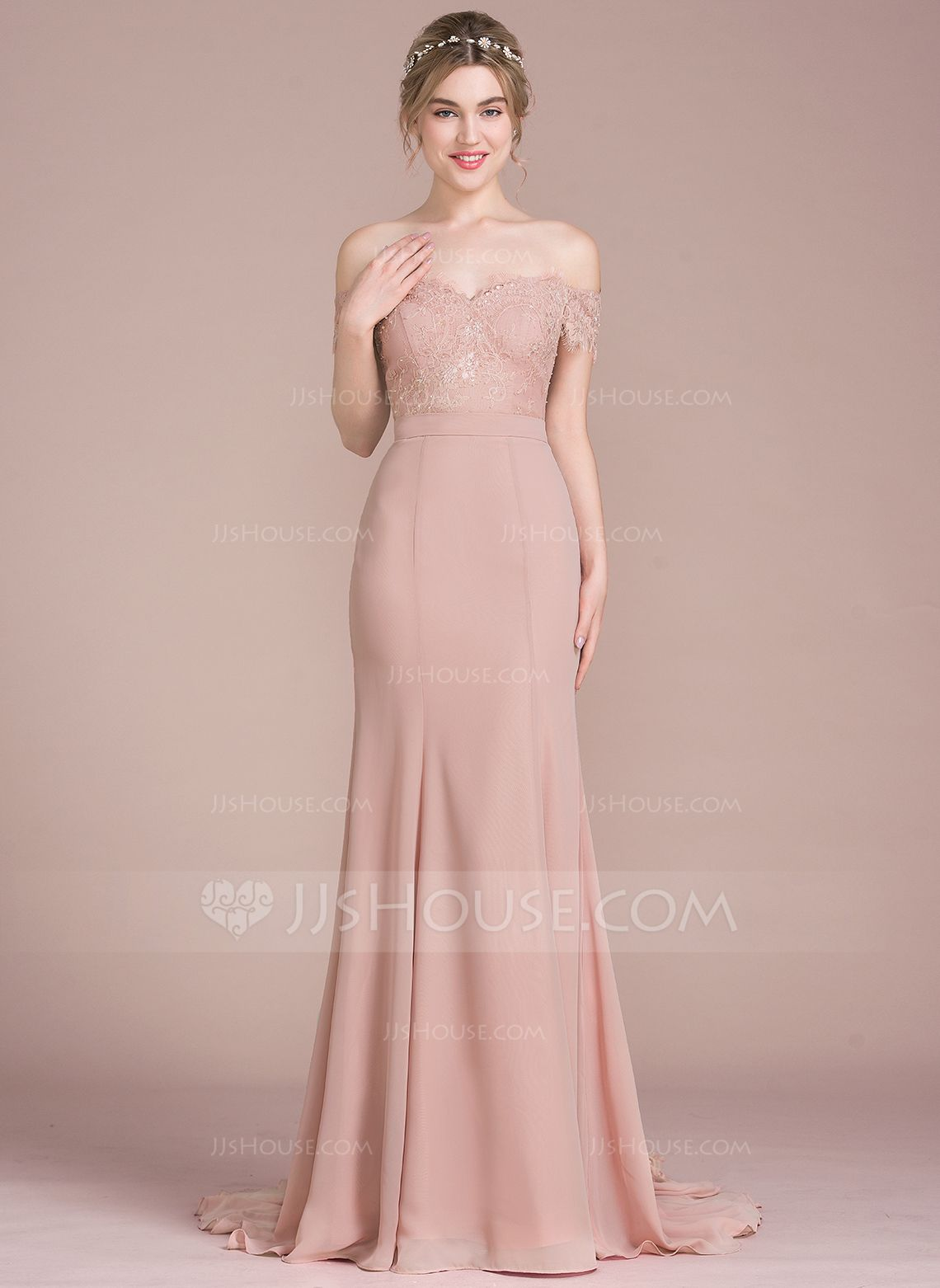 Trumpet/Mermaid Off-the-Shoulder Court Train Chiffon Lace Bridesmaid ...